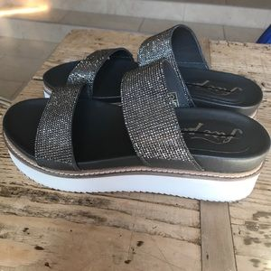 94e2fe0b837 Free People Shoes - NEW Free People Harper dark silver platform slides